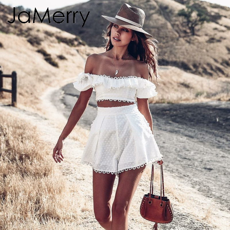 JaMerry Vintage off shoulder white embroidery two piece set romper Women polka dot jumpsuit playsuit Summer beach holiday suit