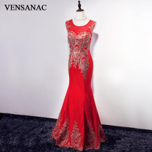 VENSANAC O Neck 2018 Gold Lace Embroidery Mermaid Long Evening Dresses Vintage Party Sleeveless Crystal Prom Gowns