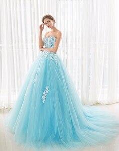 Image 5 - במלאי מתוקה כחול Quinceanera שמלות כדור כותנות עם אפליקציות תחרה עד מתוקה 16 שמלות Vestidos דה 15 שנים המפלגה שמלות