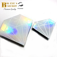 Customized Package case box large diamond For Strip lashes silk 3d mink faux eyelash personal colourful luxury professional case