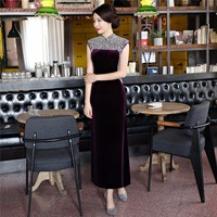 Shanghai Story Pearl Qipao Velvet Long Cheongsams Chinese Style Dress chinese traditional Dress national trend oriental dress