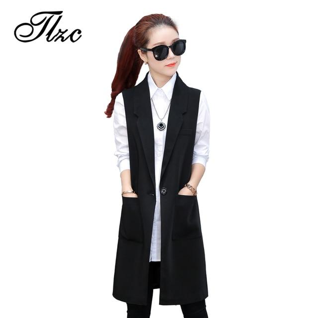 TLZC Women Fashion Long Vests Sleeveless Jackets Black Size S-XXL Brand Big Pocket Office Lady Casual Waistcoat colete feminino