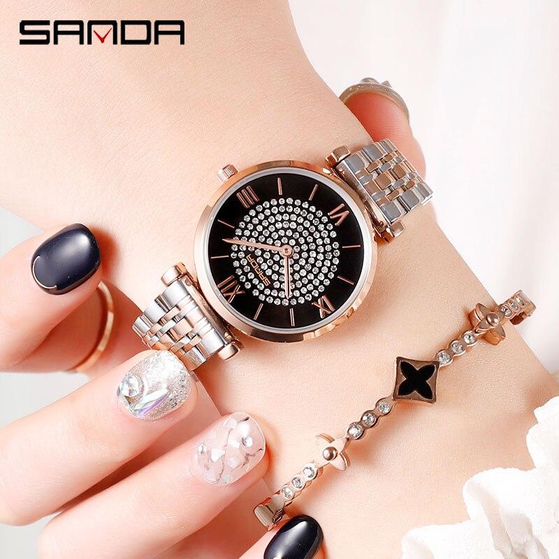 Image 4 - 2019 nuovo SANDA vigilanza delle donne di lusso cintura in acciaio wristband della vigilanza di modo specchio di vetro minerale casuale orologio al quarzo impermeabileOrologi da donna   -