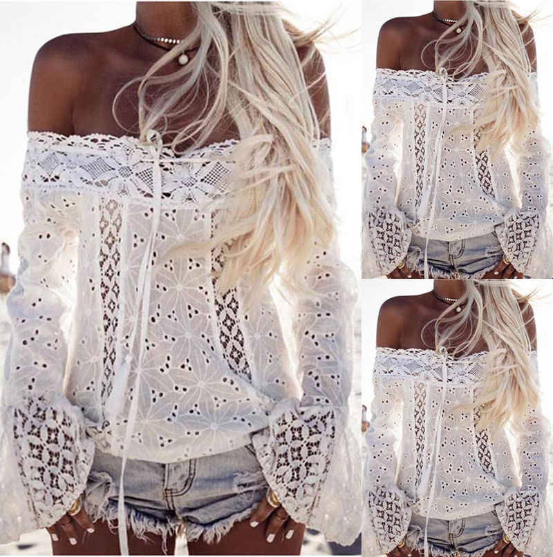 9ebc85570e9f27 Boho Women Off Shoulder Casual Solid Shirts Lace Top Tees Blouse Tops HOT Lace  White Black