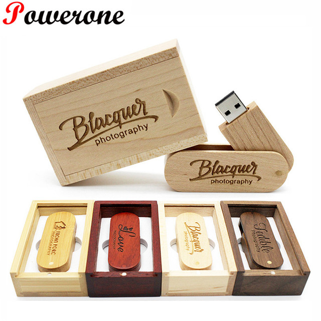 POWERONE (over 10 PCS free LOGO) Wooden USB Flash Drive pendrive 8GB 16GB 32GB 64GB Rotation usb + box memory Stick photography