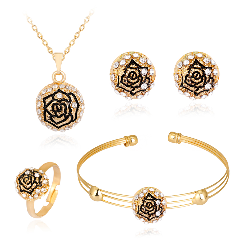 danbihuabi Fashion jewelry African Beads Jewelry Set Simple roses pendant Women Wedding Necklace Bracelet Earring Ring sets