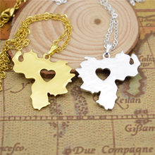 drop shipping I heart love Venezuela map pendant necklace for Women choker geometric necklace gift charm fashion Jewelry 3 color(China)