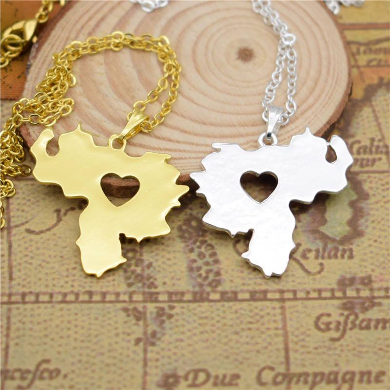 drop shipping I heart love Venezuela map pendant necklace for Women choker geometric necklace gift charm fashion Jewelry 3 color