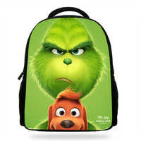 14Inch Cute Cartoon Backpack For Kids Boys Girls The Grinch Bag For Children School Print Bookbags For Students
