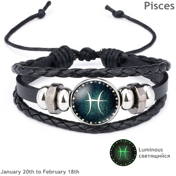 Luminous Signs of the Zodiac Decorated Leather Bracelet Bracelets Jewelry New Arrivals Women Jewelry Metal Color: Pisces