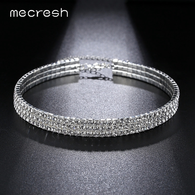 29eab35b98 Mecresh Simple Rhinestone Silver Color Women Choker Necklace Crystal Round  Collar Necklace Prom Wedding Christmas Jewelry MXL093-in Torques from ...