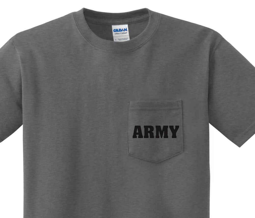 Pocket t-shirt mannen Verenigde Staten Leger pocket tee mens donkergrijs shirt us army Zomer Men'S fashion Tee, comfortabele t-shirt