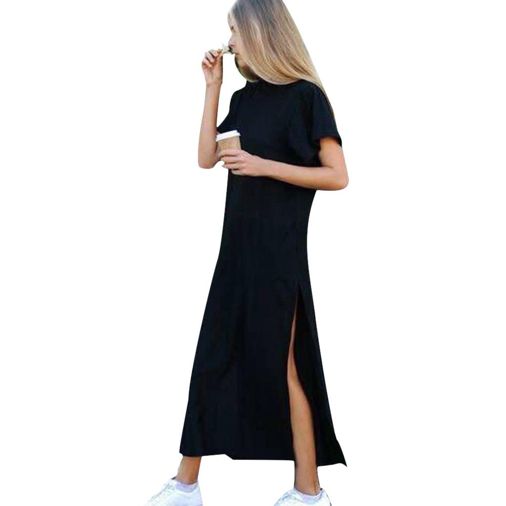 Free Ostrich Autumn Basic Side High Slit Long T Shirt Women Sex Dress Short Sleeves Black New Fashion Clothing D0235