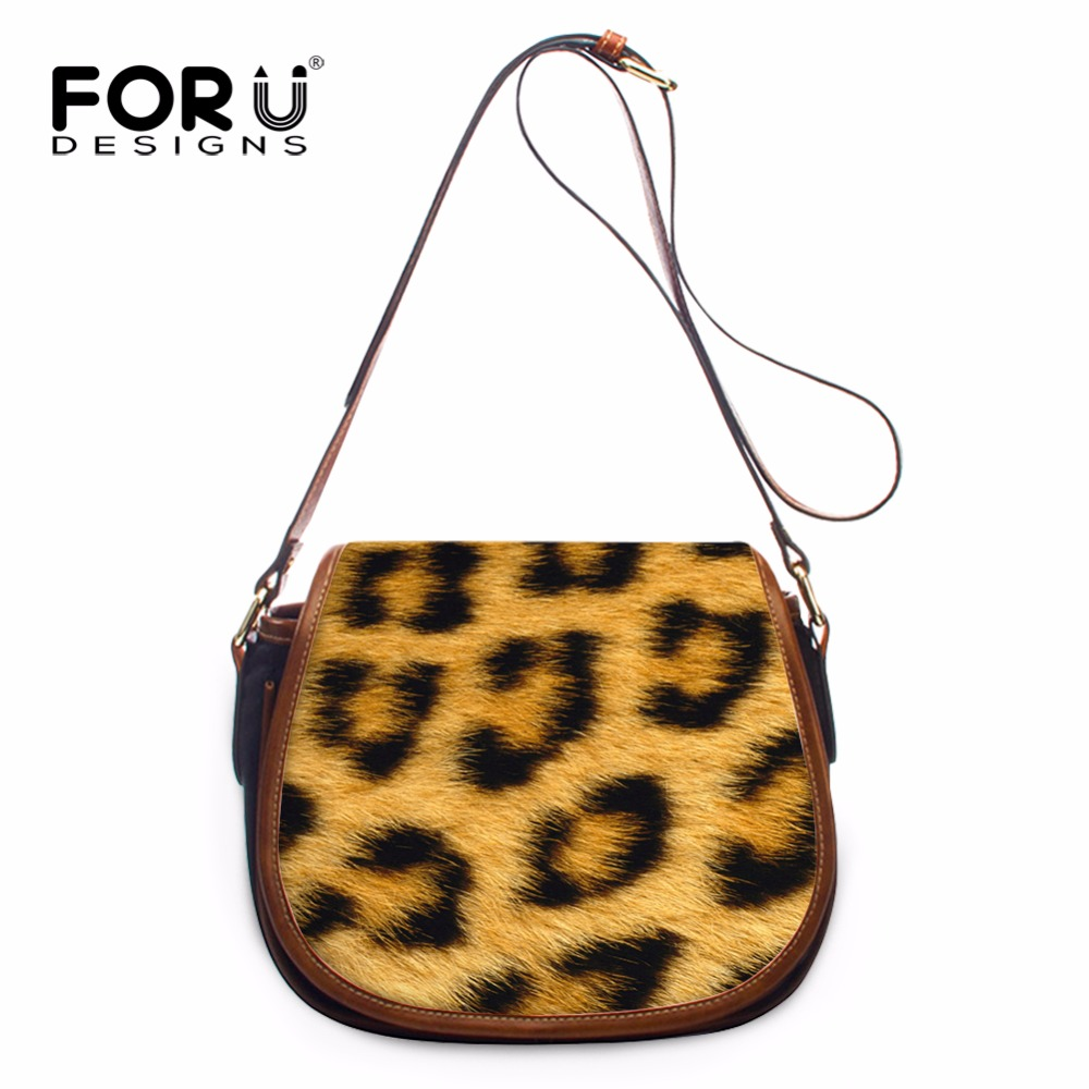 2d0ff67e67ae FORUDESIGNS Leopard Print Women PU Leather Messenger Bags