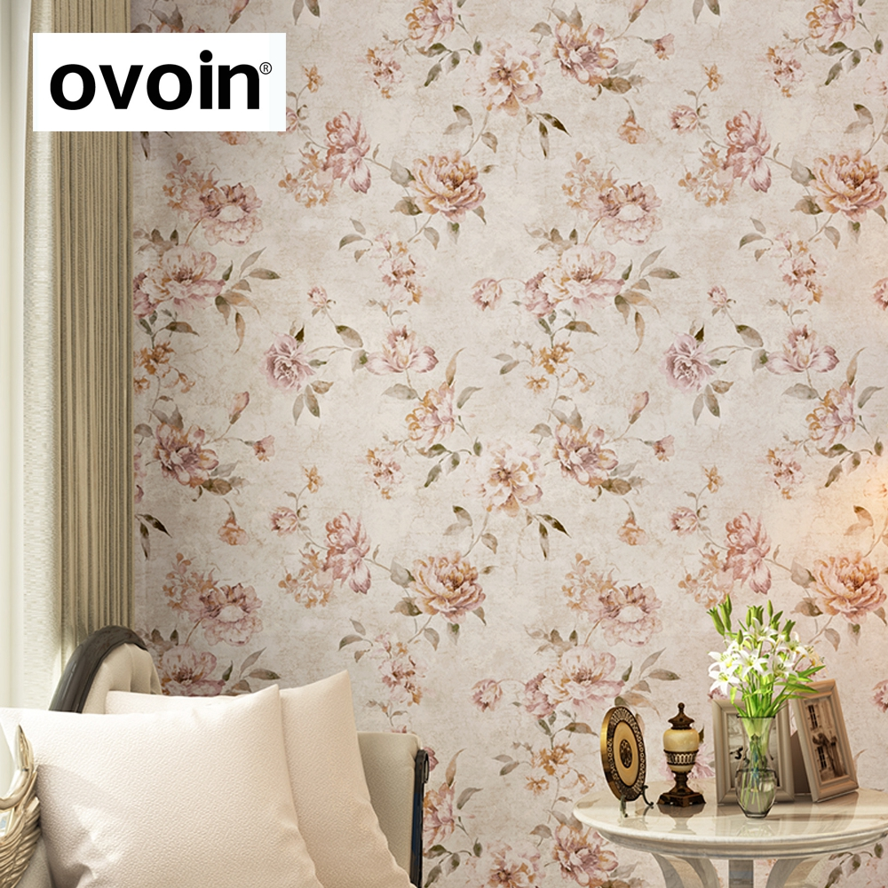 rustic bedroom green walls | Pink Floral Wallpaper Flower Peony nonwoven Wall Paper ...
