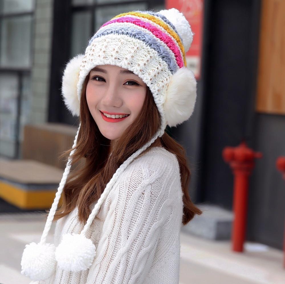 cda53aa6138 Korean Women Butterfly Flower Cap Female Winter Warm Knitted lovely Hat  Ladies Earmuffs Woolen Skullies Beanie Hat cute-in Skullies   Beanies from  Women s ...