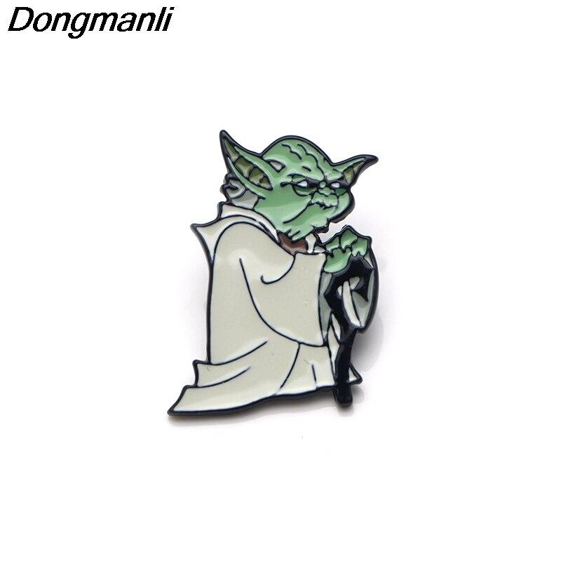 P3286 Wholesale 20pcs lot Cool Yoda Enamel Pin Brooches Cartoon Creative Metal Brooch Pins Denim Hat