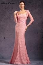 Long Formal Women's Dress Elegant Mermaid Strapless Pink Lace Mother of the Bride Dresses with Jacket vestido mae da noiva vanessa mae vanessa mae the best of colour