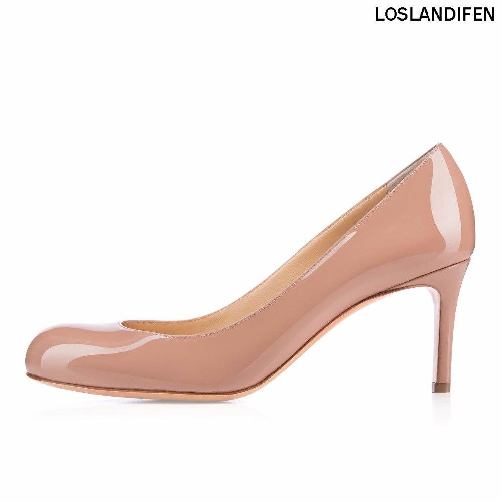 Handmade Heel New Pumps Partei Gemütliche Slip Grundlegende Einfache Fashion Frauen Mitte Pumpe Cke039 2018 Schuhe 65mm Damen on 4IAFOdx