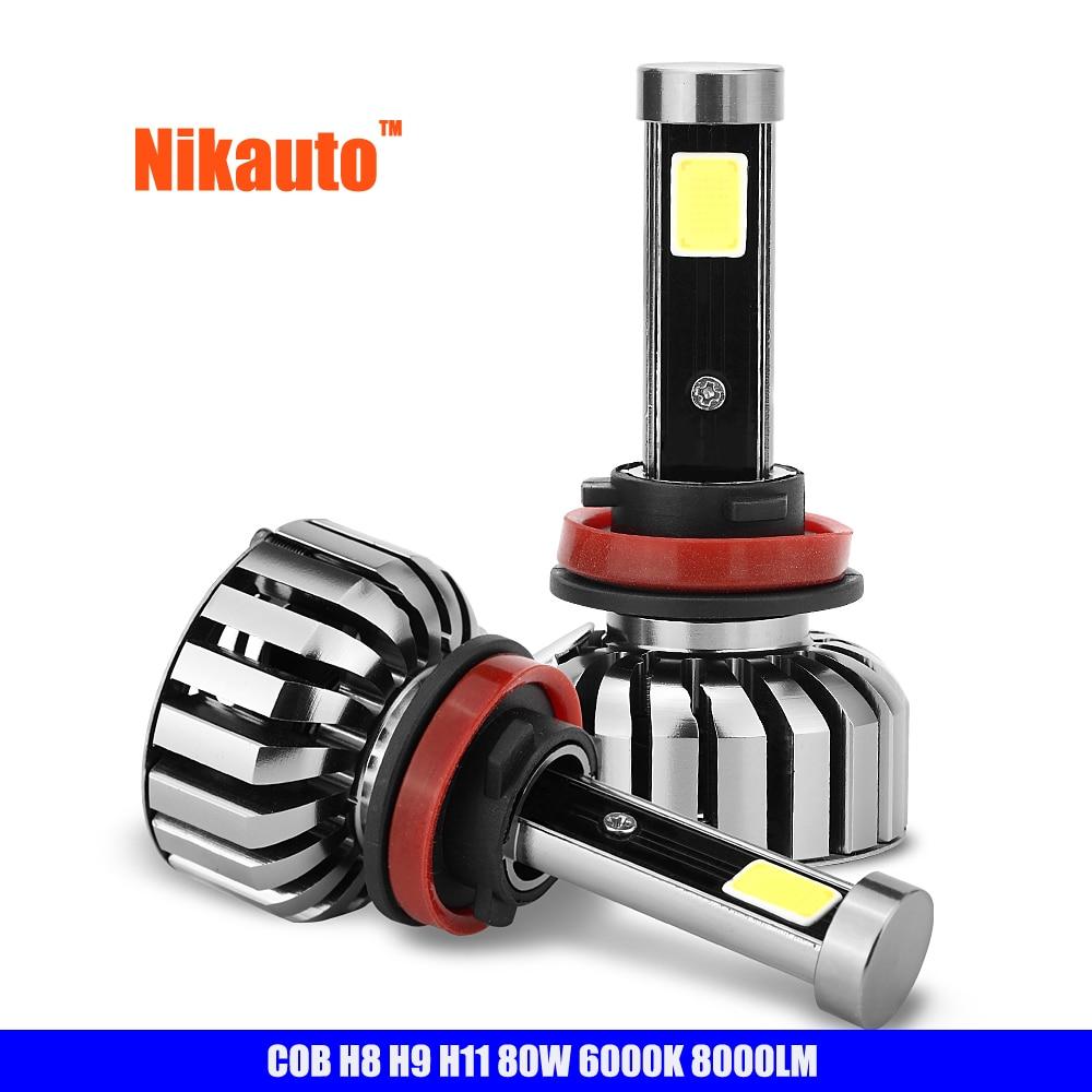 Nikauto Car Headlight Kit LED COB 6000K H8 H9 H11 80W/set 8000lm Bulb Auto All in One Head Lamp For Toyota Honda VW BMW Truck