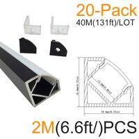20Pack 6 6ft 2M Black 18x18mm V Shape White Diffuser Cover Corner LED Aluminum LED Channel