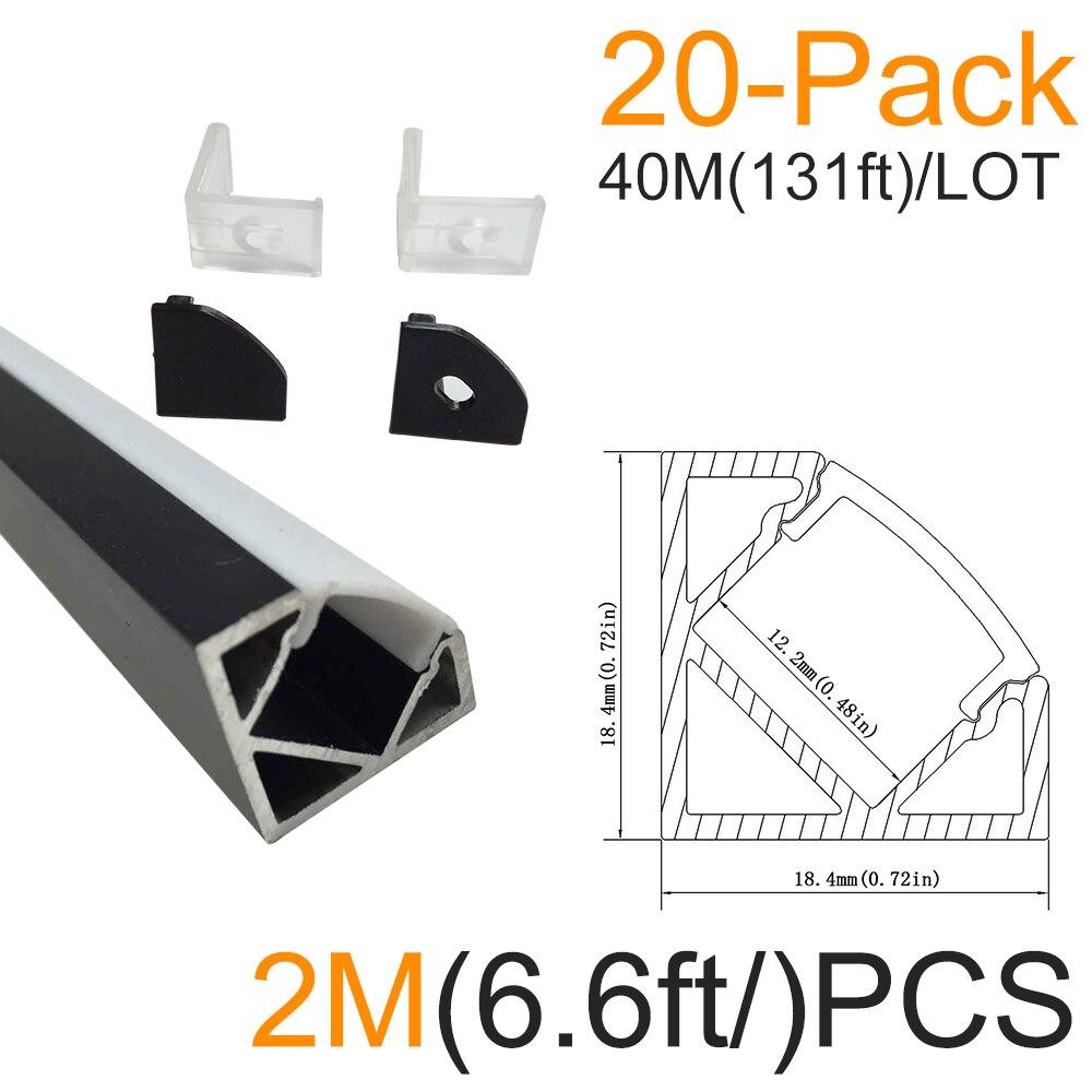 20sets/lot 20x2M(6.6ft) Black V-Shape Corner Aluminum <font><b>LED</b></font> Channel for <font><b>LED</b></font> <font><b>Strip</b></font> Installations Aluminum Housing <font><b>LED</b></font> Profile