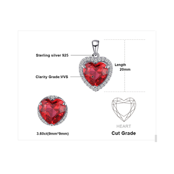 Heart Created Red Ruby Pendant Necklace  4