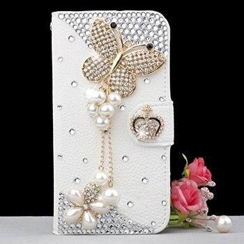 LaMaDiaa Bling Handgemachte Glitter Strass Perle Leder-schlag-mappen Schutzhülle fall für Iphone für SamsungS3 S4 S5 S6 S7 S8 N5