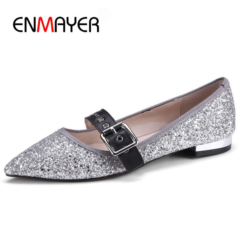 ENMAYER 2018 New Spring Flats Woman Shallow Casual Solid Pointed Toe Shoes Wedding Party Bling Shoes Woman Sexy 34-39 Size Flats plus size 34 43 new platform flat shoes woman spring summer sweet casual women flats bowtie ladies party wedding shoes