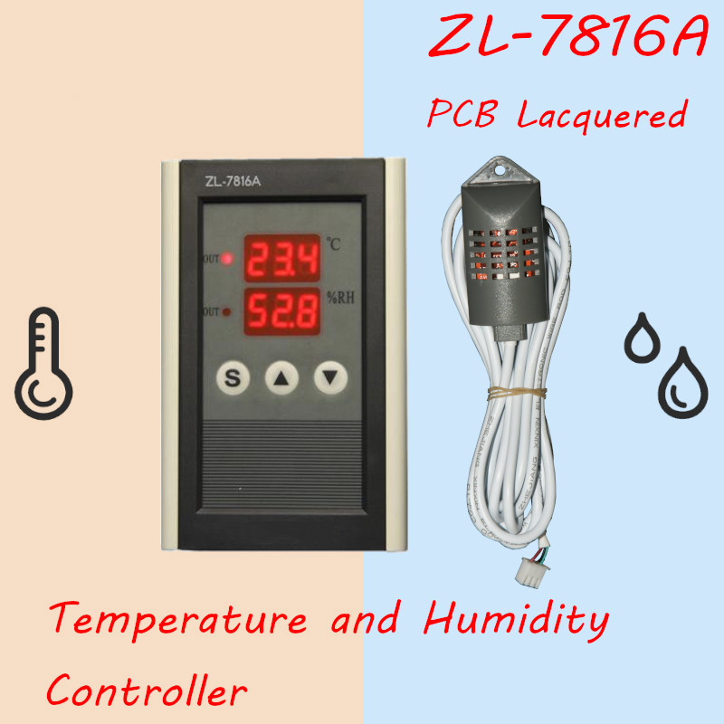 Zl 7816A 12V Temperature Humidity Controller Thermostat And Hygrostat Incubator Humidity Incubator Controller in Temperature Instruments from Tools