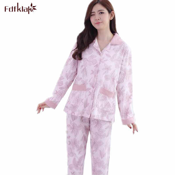 24440891d3 2017 Autumn Winter New Ladies Pajamas Home Clothes For Women Clothes For Home  Suit Warm Sleepwear