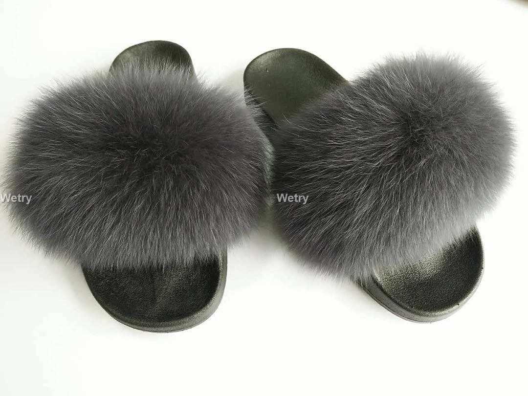 Kapcie z lisim futrem damskie futrzane domowe puszyste suwaki pluszowe futrzane letnie mieszkania słodkie damskie buty duże rozmiary 45 gorąca sprzedaż śliczne Pantufas