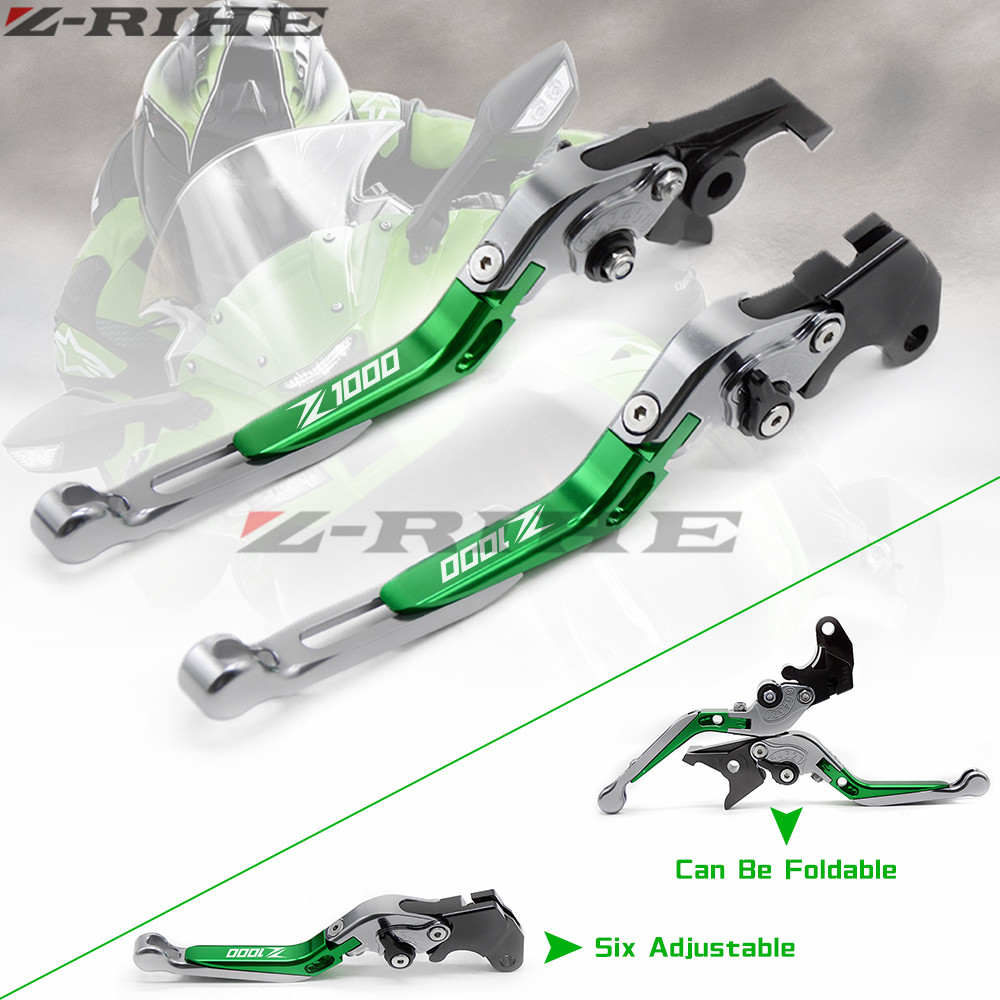 Logo(Z1000) Green+Titanium Motorcycle Brake Clutch Levers For kawasaki Z1000 2007 2008 2009 2010 2011 2012 2013 2014 2015 2016 motorcycle brake clutch levers with logo yzf r6 for yamaha yzf r6 2005 2006 2007 2008 2009 2010 2011 2012 2013 2014 2015 2016
