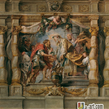 Картины на холсте(Авраам и мелкиседек Рубенс) Monder art Репродукция картины маслом для коридора 13-Zjyh-(114)(24*24 дюйма