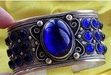Tibet incrustaciones de plata Azul creado Jades brazalete hombres del estilo tribu Pulsera abierta envío libre