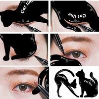Women's Fashion 2Pcs Cat Line Stencils Pro Eye Makeup Tool Eyeliner Stencils Template Shaper Model Eyebrows Eyeshadow Wholesale Health & Beauty