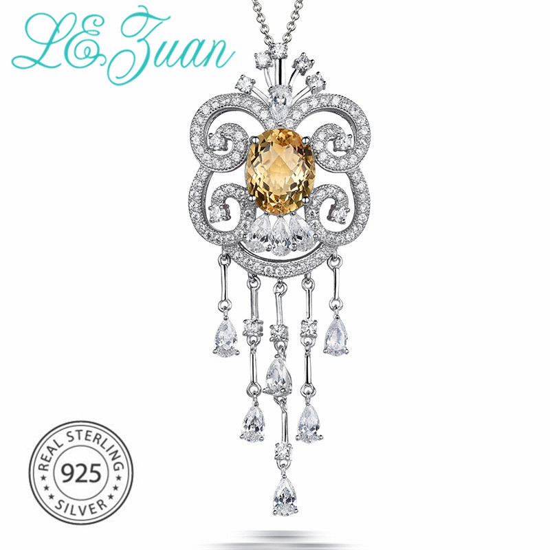 925-Sterling-Silver Necklace Citrine Pendant Fine-Jewelry Romentic-Flower Christmas-Gift
