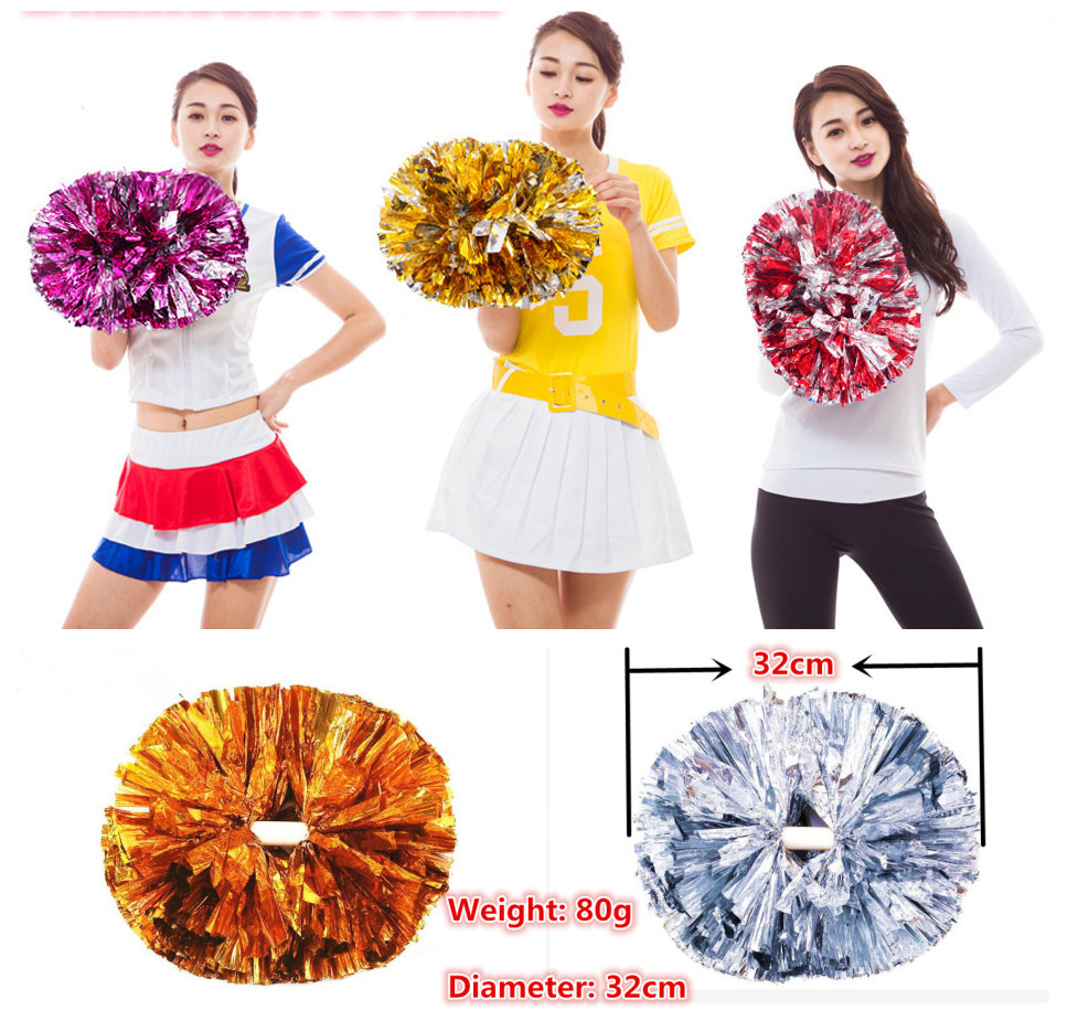 High Quality 32CM/80g Game Pompoms Cheering Supplies Cheerleader Pom Poms Supplies PVC Pompons Color Can Free Combination