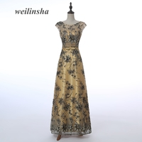 ADLN Floor Length Gold Mother Of The Bride Dresses Applique Cap Sleeve Prom Dress Real Photo
