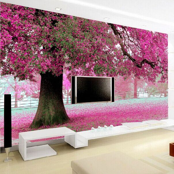 Buy purple flower tree 3d wall papers for Cherry blossom mural on walls