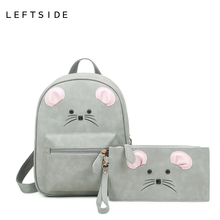 LEFTSIDE 2017 Women Cartoon Mouse PU Leather Backpacks Set  Women's Backpacks Teenage Girls Stylish School Bags Back Packs Bags