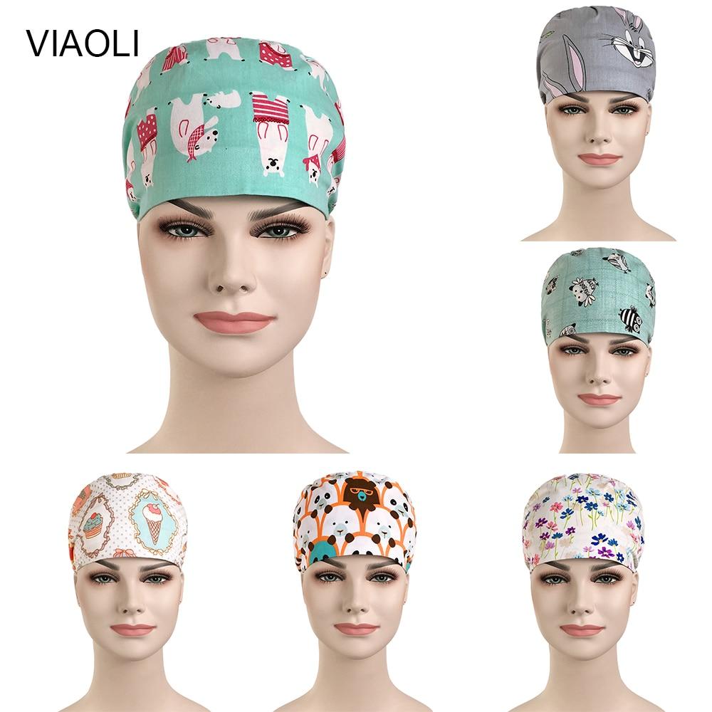 Wholesale Prices Surgical Hat Medical Work Scrub Cap Cotton Bottle Print In Navy Blue Tieback Straps Adjustable Dentist Hats New
