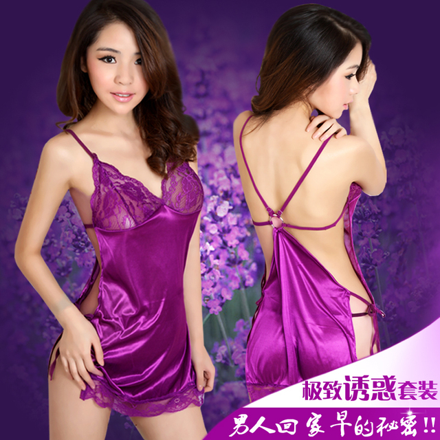 Sexy Porn Lingerie Chest Woman Lace Nightgown Pajamas Skirt Temptation G String Thong Sexy Night Dress