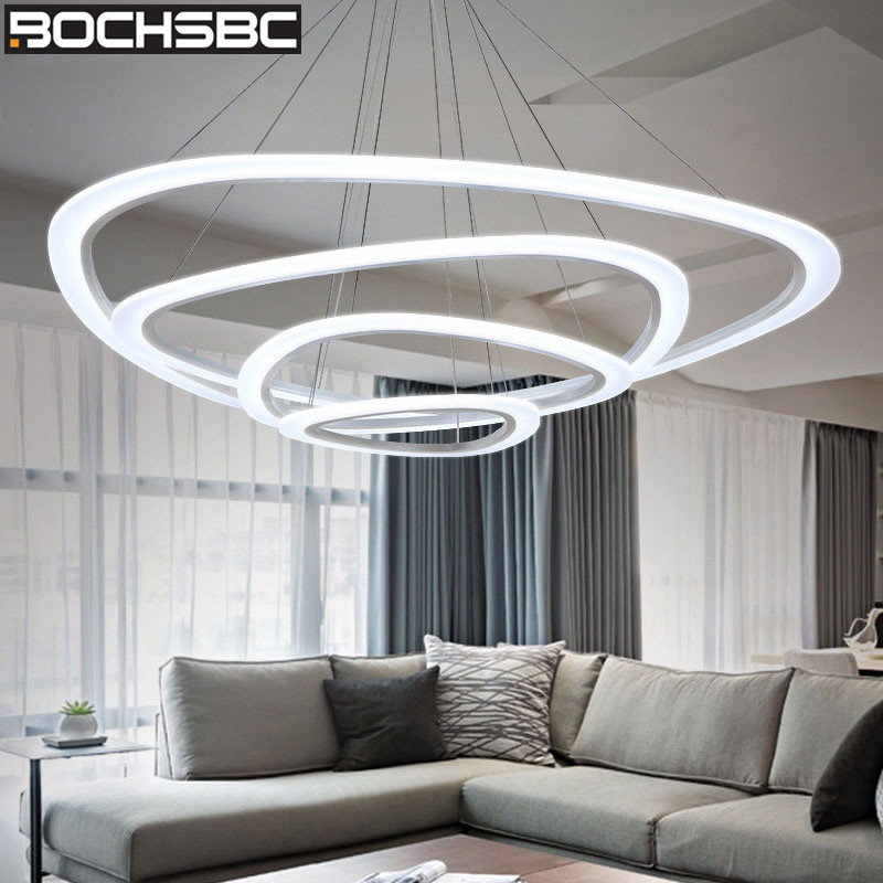 Bochsbc Modern Art Led Pendant Lights Aluminum Alloy Acrylic Lampshade Hanging Lamp Lighting Fixture For Dining Room Living Room Pendant Lights