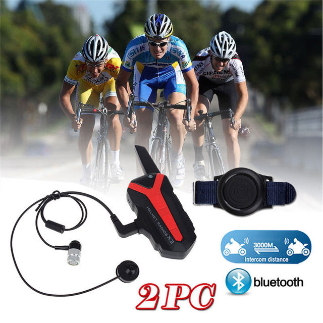 Free shipping!2x Bluetooth Bicycle Helmet 1.5-3KM Group Intercom Headset Walkie Talkie X3 Plus