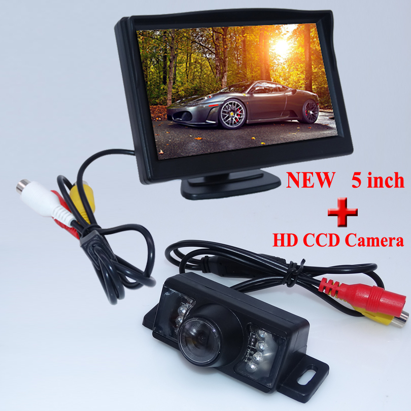 New arrival night vision car rear camera ccd hd image with 7 lights+shock-proof 5 screen hd car screen monitor for diverse car