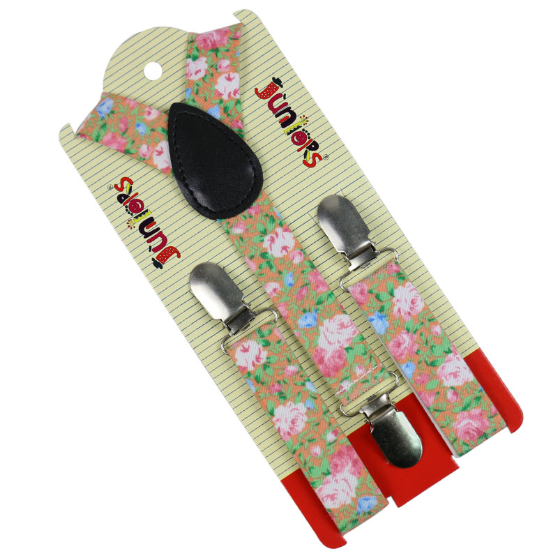HUOBAO Fashion 2.5cm Wide Flower Fruits Print Suspenders Baby Boys Suspenders Clip-on Y-Back Braces Elastic Kids Suspenders