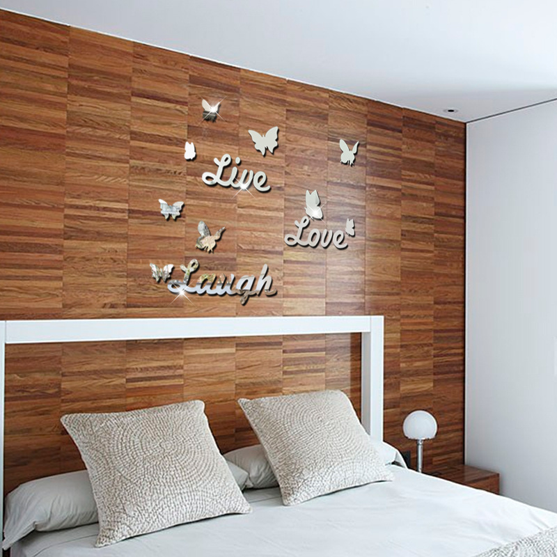 Aliexpress.com : Buy Live Love Laugh Butterfly Mirror Surface Bedroom  Living Room Background Bathroom Decor Art Acrylic 3D Wall Stickers From  Reliable 3d ...