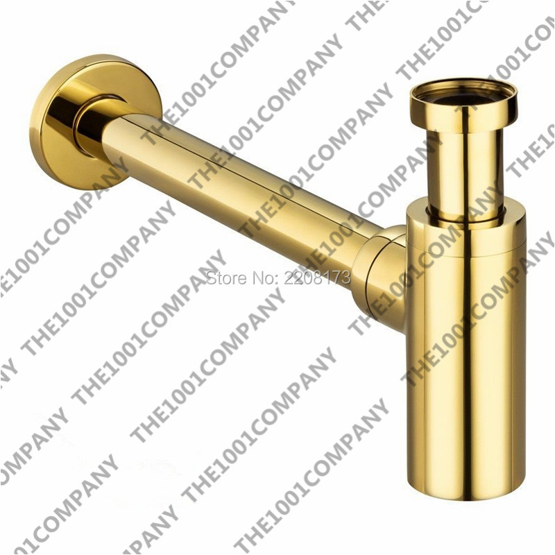 купить Wall Mounted Trap Luxury high quality Bottle Trap Brass Round Golden Siphon P-Trap Bathroom Vanity Basin Pipe Waste drain pipe по цене 3025.21 рублей