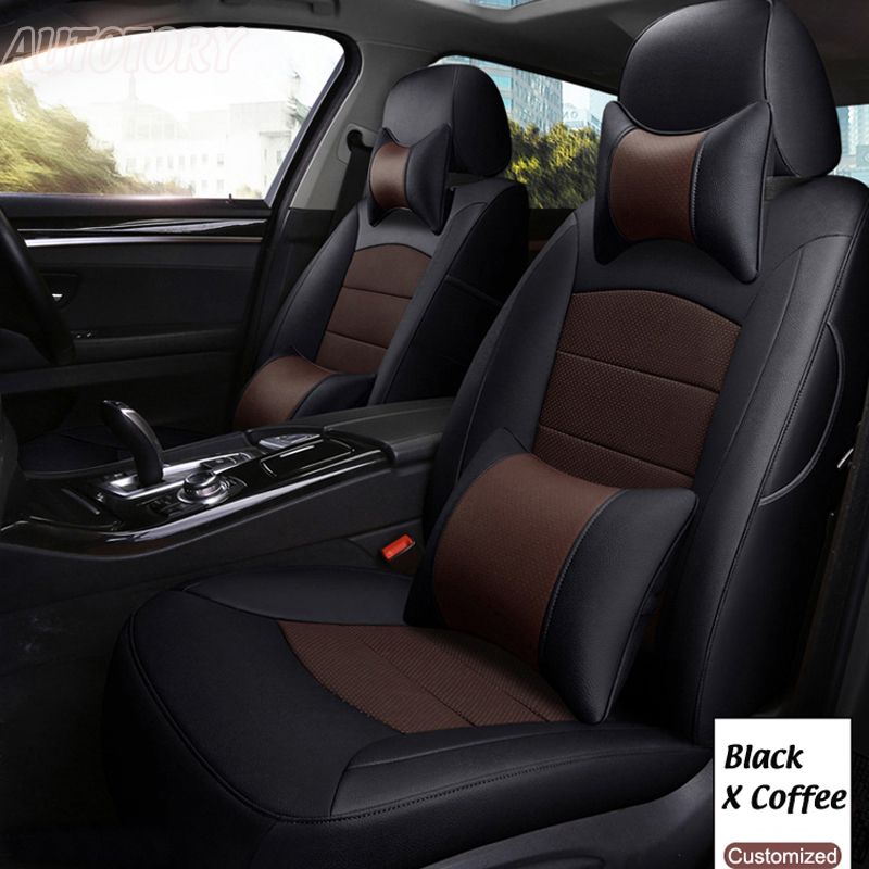 Autotory Cowhide Automobiles Seat Covers for Skoda Kodiaq 2018 Genuine Leather Car Seat Cover Set Custom Seat Cushion Accessorie